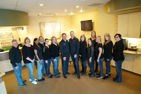 Meadows Dental Group team in front lobby