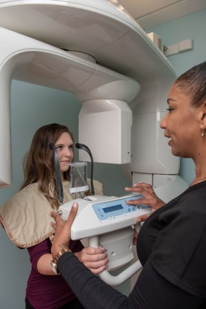 Karen and Jade with Cone Beam CT scanner