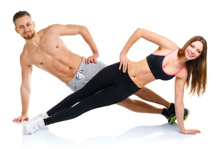fit man and woman planking