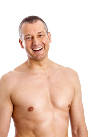 shirtless middle-aged man