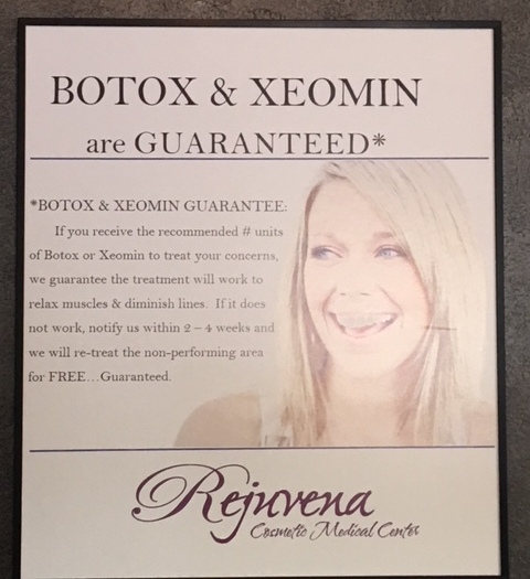 BOTOX and Xeomin guarantee at Rejuvena Cosmetic Medical Center