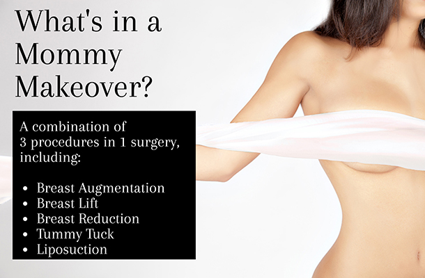 Image of woman's breasts and stomach with text explaining mommy makeover procedure