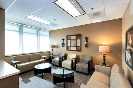 waiting area inside Renue Aesthetic Surgery in Overland Park, KS