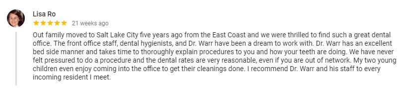 Positive review for Salt Lake City dentist