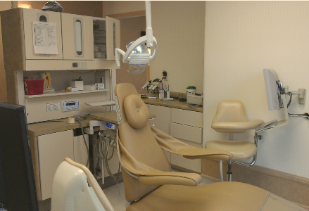 exam room with patient chair at Warr Dental office