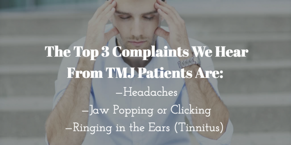 diagram exploring top 3 complaints from patients with TMj disorder