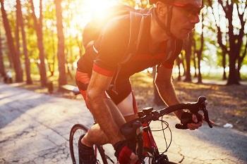 Road biker cycling in Alpharetta, GA